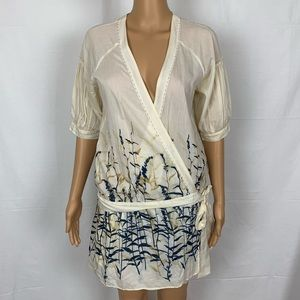 BCBGMaxazria Bamboo Wrap Dress Kimono Robe Silk Sm